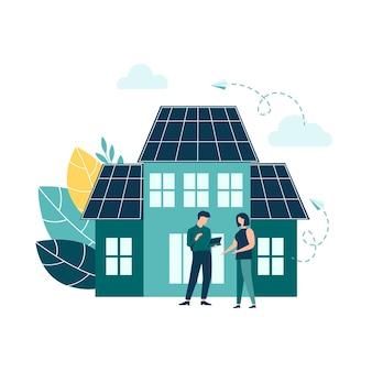 Groene energie milieuvriendelijke huisenergie van zonnepanelen en windmolens redden de natuur