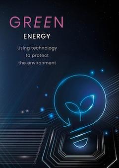 Groene energie poster sjabloon vector milieu technologie