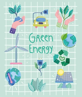 Groene energie poster Premium Vector