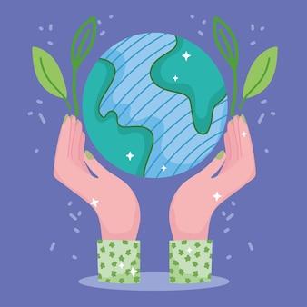 Groene energie wereld Premium Vector
