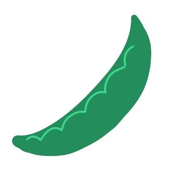 Groene erwt doodle stijl vector element handdraw illustratie