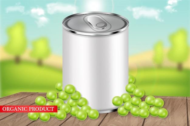 Groene erwten kunnen realistische illustratie