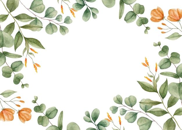Groene eucalyptus bladeren aquarel bloemen frame