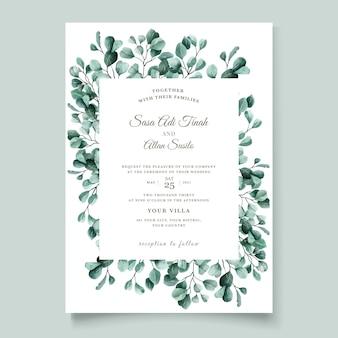 Groene eucalyptus bruiloft uitnodiging kaartsjabloon