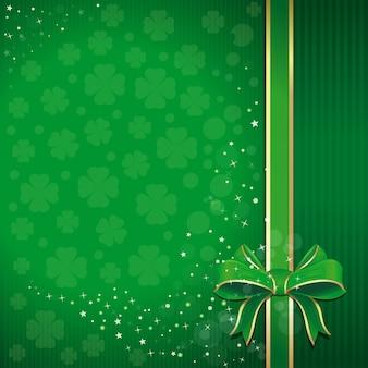 Groene feestelijke achtergrond met lint doorbladerde klaver