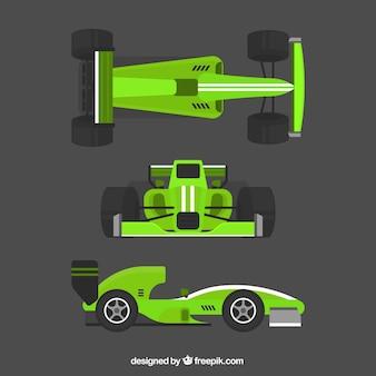 Groene formule 1 raceauto-collectie