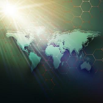 Groene gestippelde wereldkaart, verbindingslijnen en punten op donkere kleurenachtergrond.