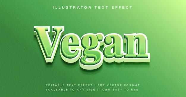 Groene gezonde veganistische 3d-tekststijl lettertype-effect