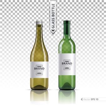 Groene glazen flessen