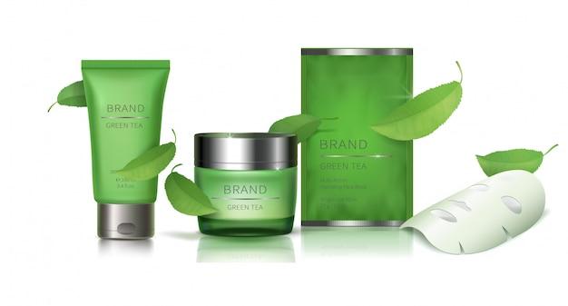 Groene glazen pot en gezichtsmasker
