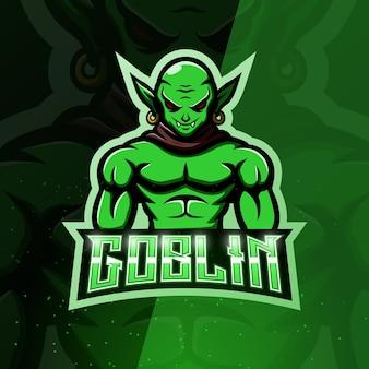 Groene goblin mascotte esport illustratie