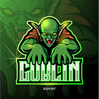 Groene goblin mascotte esport logo ontwerp.