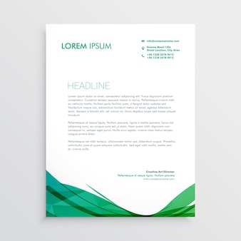 Groene golvende vorm briefhoofd vector ontwerp sjabloon