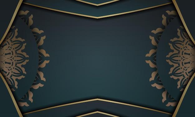 Groene gradiëntachtergrond met abstract gouden ornament en plaats onder uw tekst