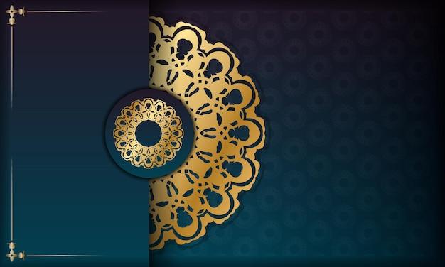 Groene gradiëntachtergrond met abstract gouden ornament en ruimte voor uw logo