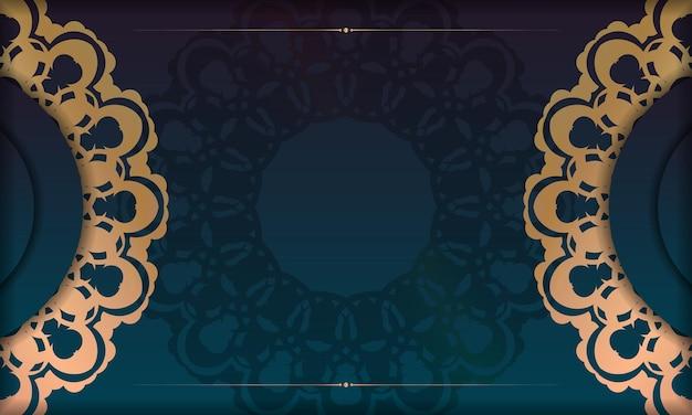 Groene gradiëntachtergrond met abstract gouden ornament voor ontwerp onder uw logo
