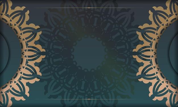 Groene gradiëntachtergrond met abstract gouden patroon en plaats onder uw tekst
