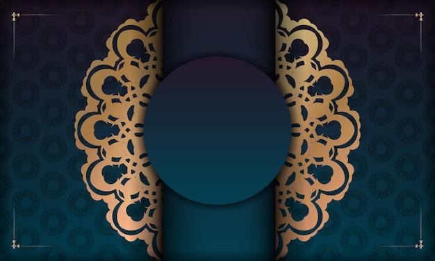 Groene gradiëntachtergrond met abstract gouden patroon voor ontwerp onder uw logo