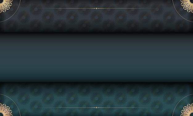 Groene gradiëntachtergrond met indiaas gouden patroon en plaats onder uw tekst