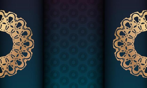 Groene gradiëntachtergrond met mandala gouden ornament en plaats onder uw logo