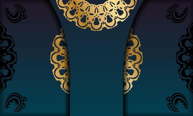 Groene gradiëntachtergrond met vintage gouden ornament voor ontwerp onder uw logo