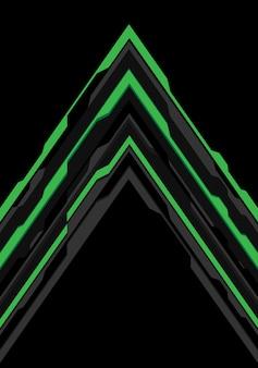 Groene grijze pijl futuristische richting op zwarte achtergrond.