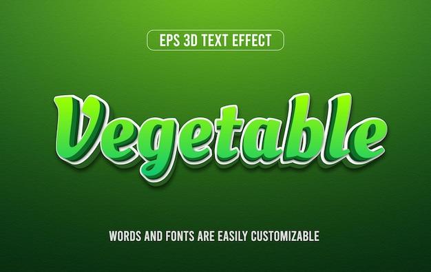 Groene groente 3d vector teksteffectstijl