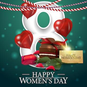 Groene groetprentbriefkaar voor de dag van vrouwen