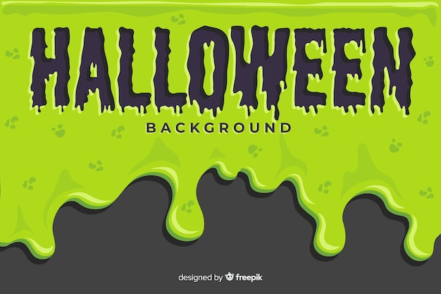 Groene halloween-achtergrond met vlak ontwerp