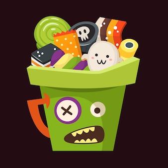 Groene halloween-emmer in de vorm van een zombie vol snoep, suikergoed en desserts