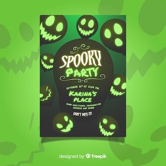 Groene halloween griezelige partij folder sjabloon