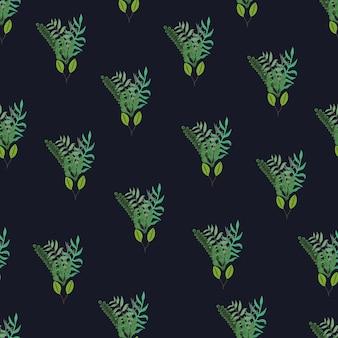 Groene hand getrokken bladeren en takken boeketten naadloos patroon op zwarte achtergrond
