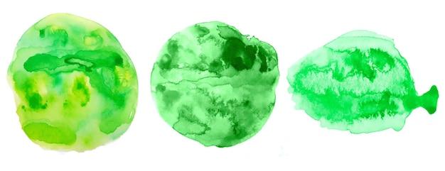 Groene handgeschilderde aquarel textuur set