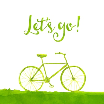 Groene handgeschilderde fiets met tekst laten gaan gezonde levensstijl concept aquarel illustratie