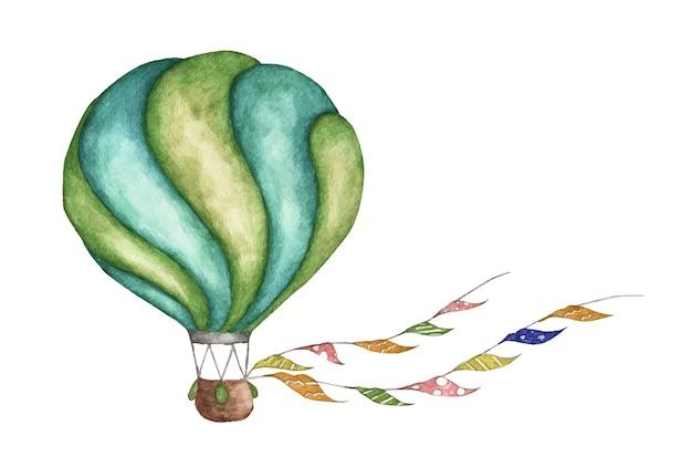 Groene hete luchtballon met vlaggenslingers