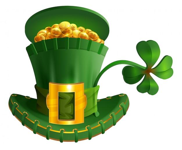 Groene hoed vol gouden munt en geluk klavertje. st. patricks day symbool accessoire