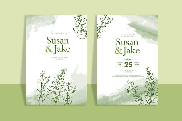 Groene huwelijksuitnodiging handgetrokken bloemen aquarel achtergrond