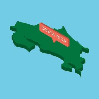 Groene isometrische kaart van land costa rica met aanwijzer op blauwe achtergrond.