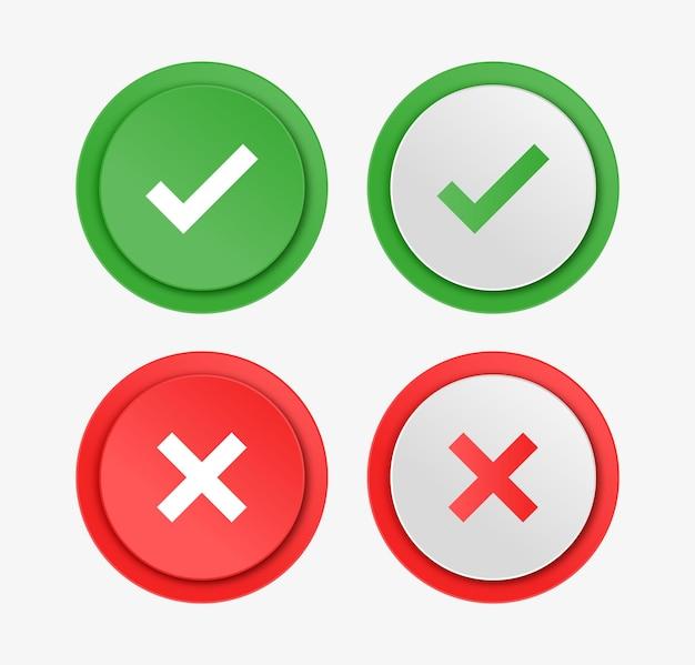 Groene ja en rode nee vinkjes of goedgekeurde en afwijzende pictogrammen in vierkante ronde hoek