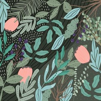 Groene jungle met bloemen en bladeren achtergrond