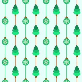 Groene kerstboom en kerstballen naadloze patroon achtergrond.