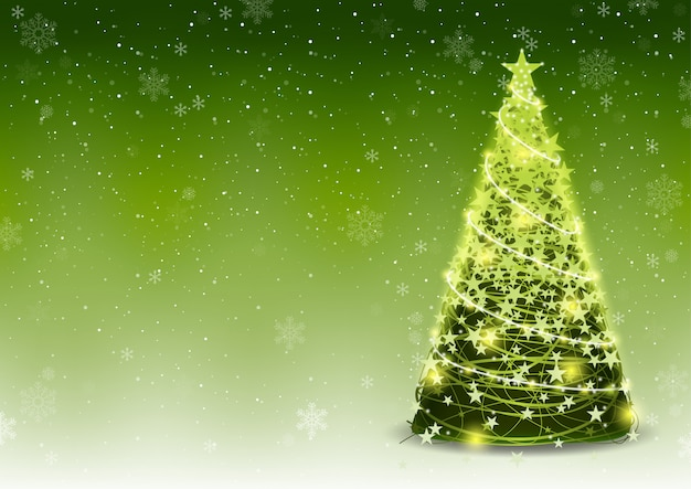 Groene kerstboomachtergrond met dalende sneeuw
