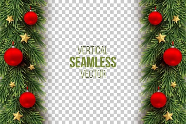 Groene kerstboomtakken met rode ballen, gouden sterren verticale naadloze afbeelding.