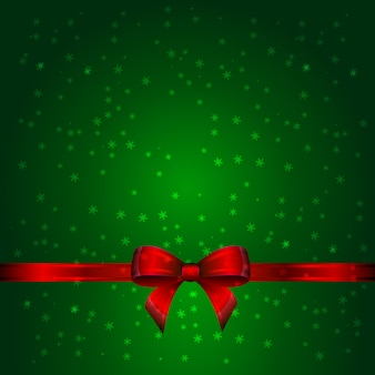 Groene kerstkaart met lint en boog