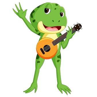 Groene kikker gitaar spelen