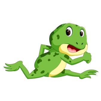 Groene kikker met gelukkige glimlach