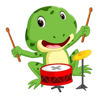 Groene kikker speeltrommel