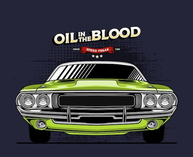 Groene klassieke auto vooraanzicht illustratie