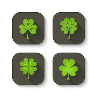 Groene klaver pictogrammen. vector illustratie Premium Vector