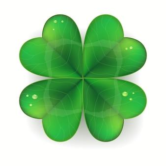 Groene klaver realistisch, saint patricks day-symbool, klavertje vier,